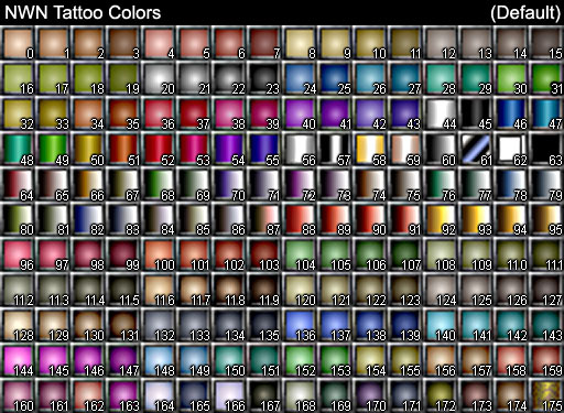NWN Tattoo Colors